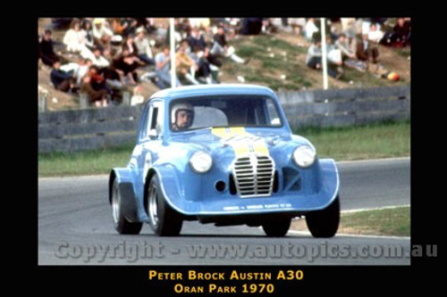 Peter Brock  -  Austin A30  Oran Park  1970 - Photographer David Blanch - Printed with a black border and a caption describing the photo.