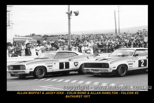 One -Two Finish  -  A. Moffat / J. Ickx & C. Bond / A. Hamilton - Ford Falcon XC  Bathurst  1977 - Printed with a black border and a caption describing the photo.