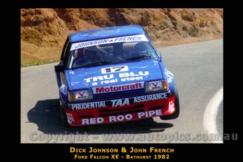 Dick Johnson / J. French  - Ford Falcon XE - Bathurst 1982 - Photographer Lance J Ruting - Printed with a black border and a caption describing the photo.