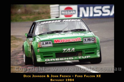 Dick  Johnson / J. French  -  Bathurst 1984 Ford Falcon XE - Printed with a black border and a caption describing the photo.