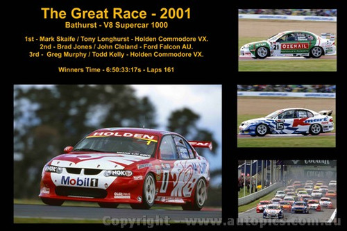 The Great Race 2001 - A collage of 4 photos showing the first three place getters from  Bathurst 2001 with winners time and laps completed.