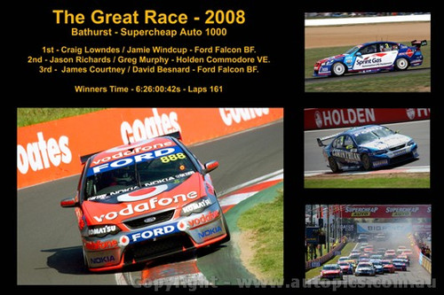 The Great Race 2008 - A collage of 4 photos showing the first three place getters from  Bathurst 2008 with winners time and laps completed.