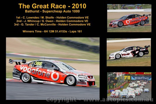 The Great Race 2010 - A collage of 4 photos showing the first three place getters from  Bathurst 2010 with winners time and laps completed.