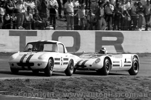 65475 - Leo Geoghegan Lotus Elan & Ian  Pete  Geoghegan Lotus 23B - Oran Park 1965 -  Photographer  Lance J Ruting