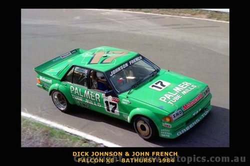 Dick Johnson / J. French - Ford Falcon XE -  Bathurst 1984 - Printed with a black border and a caption describing the photo.