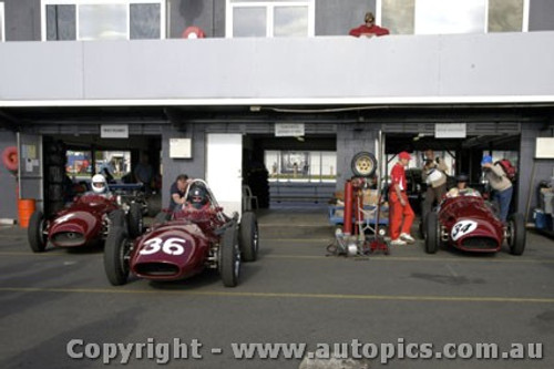 11501 - The three Maserati 250Fs at Phillip Island Classic - March 2011 - #4 Jeffery O Neill, #34 Peter Giddnigs and #36 Tom Price - Photographer David Blanch