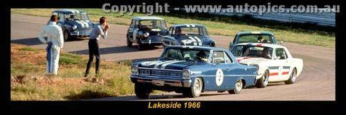 1966 Lakeside  - Beechey Nova, Geoghegan, Thomson Mustang, McKeown Cortina, Foley & Manton Morris Cooper S - A Panoramic Photo 30x10inches.