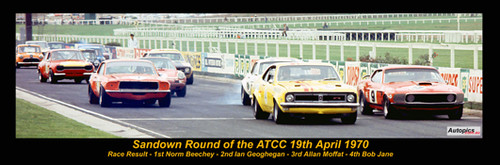 395 - The Start of the Sandown Round of the ATCC 1970 - A Panoramic Photo 30x10inches.