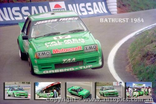 Dick Johnson & John French XE Falcon - A collage of photos from Bathurst 1984
