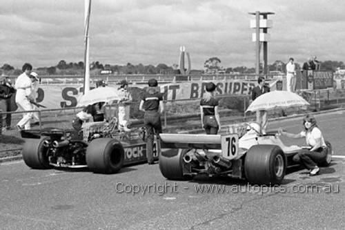 81612 - John Wright Lola T400 & Alf Costanzo McLaren M26 - Sandown 1981- Photographer Darren House