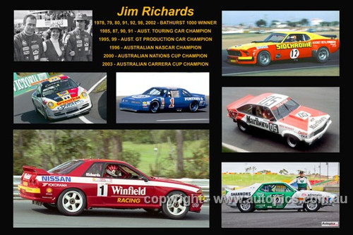 375 - Jim Richards - A collage of a few of the cars he drove during his career