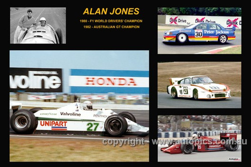 379 - Alan Jones - A collage of a few of the cars he drove during his career