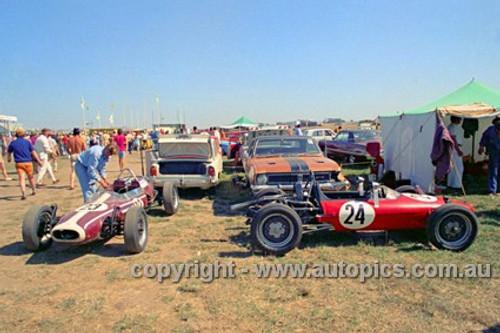#24 Ross Hart, Elfin Vee & #23 David Eyer-Walker, CMS Formula Vee - Phillip Island 1972- Photographer Peter D'Abbs