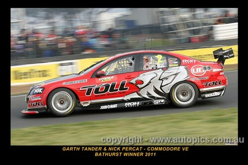 Garth Tander & Nick Percat, Commodore VE - Bathurst Winner 2011 - Printed with a black border and a caption describing the photo.