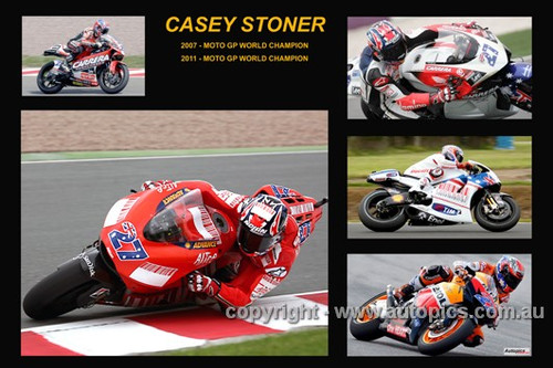 363 - Casey Stoner - A collage of a few of the bikes he has ridden during his career