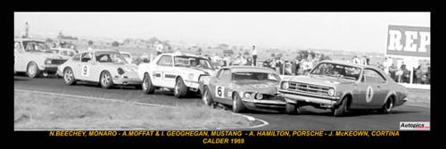 385 - First Lap Calder 1969 - Beechey, Monaro - Moffat & Geoghegan, Mustangs - Hamilton, Porsche & J. McKeown, Cortina - A Panoramic Photo 30x10inches.