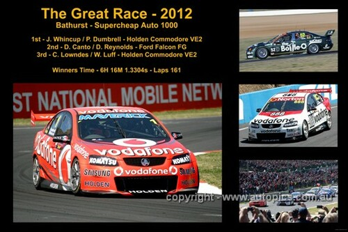 643 - The Great Race 2012 - A collage of 4 photos showing the first three place getters from  Bathurst 2011 with winners time and laps completed.