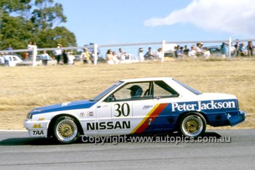 86058  -  George Fury - Nissan Skyline Turbo - Symmons Plains 9th March 1986 - Photographer Ray Simpson