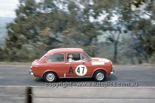 66751  - Trevor Mehan & Ian Hindmarsh, Fiat 850 - Gallaher 500  Bathurst 1966 - Photographer Geoff Arthur