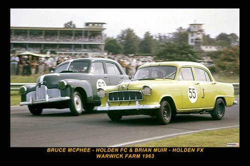 63033-1 - Bruce McPhee Holden FE & Brian Muir, Holden FX - Warwick Farm 1963