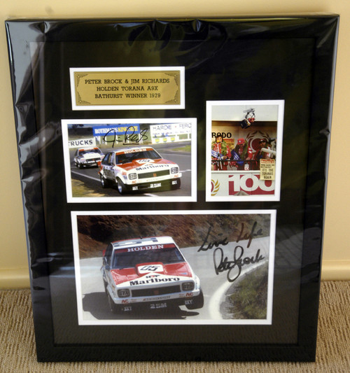 """199 - P. Brock & J. Richards Bathurst 1979 - Signed by Both Drivers A Framed & Double Matted Collection of Three Photos from the 1979 Hardie Ferodo 1000 - Frame Size 23"""" x 17"""" (540mm x 440mm)."""