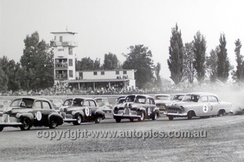 63037 - Battle of the Holdens - B. Seton, B. McPhee, S. Martin & Max Stahl  - 10th February 1963 Warwick Farm  - Max Stahl Collection