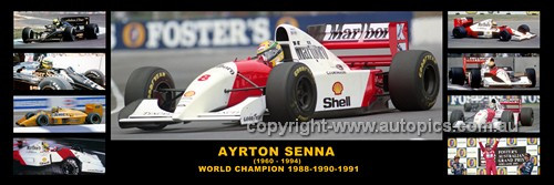 342 - Ayrton Senna in Australia - 1985 to 1993 -  A Panoramic Photo 30x10inches.