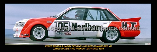 336 - Peter Brock & Larry Perkins, Commodore VK - Bathurst Winner 1984 -  A Panoramic Photo 30x10inches.