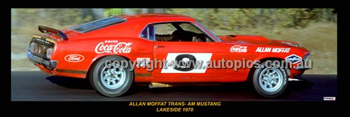 339 - Allan Moffat, Trans-Am Mustang - Lakeside 1970 -  A Panoramic Photo 30x10inches.