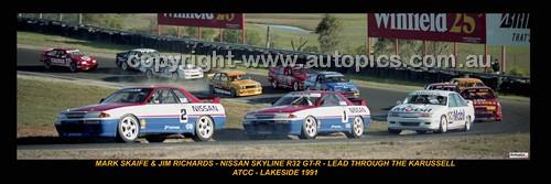 332 - SKAIFE & JIM RICHARDS - NISSAN SKYLINE R32 GT-R ATCC LAKESIDE 1991 - A Panoramic Photo 30x10inches.