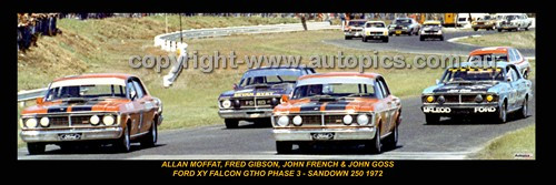 333 - MOFFAT, GIBSON, FRENCH & GOSS - FALCON XY - SANDOWN 1972 - A Panoramic Photo 30x10inches.