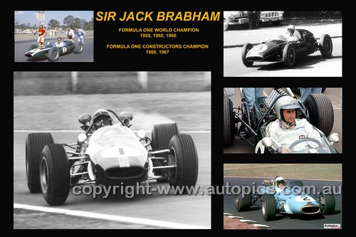 381-1 - Jack Brabham - A collage of a few of the cars he drove during his career