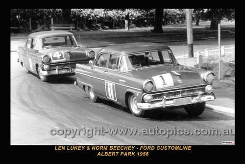 56002-1 - Len Lukey & Norm Beechey, Ford Customlines - Albert Park 1956