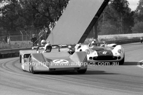 69318 - Bob Holden, Lolita MK2 & Denis Geary, Lola T70 MK2 - Warwick Farm 1969 - Photographer Lance J Ruting.