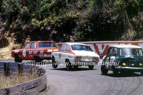 701041 - Graham Ryan Valiant Pacer VF / Garry Cooke's rotary Mazda R100 and Les Grose's Mini Cooper S - Catalina Park  1970 - Photographer Jeff Nield