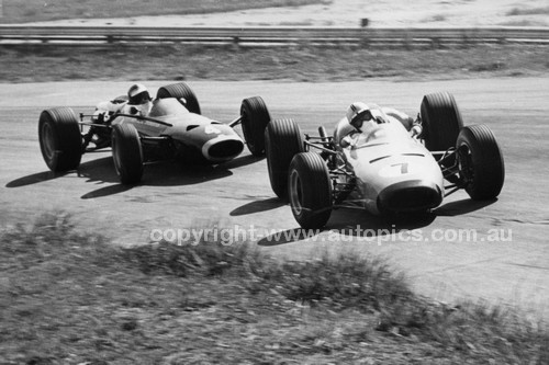 67619 -  Kevin Bartlett, Brabham BT11A Climax & Piers Courage, BRM P261 V8 - Tasman Series Lakeside 1967