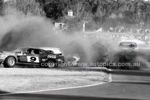 70839 - Allan Moffat & Pete Geoghegan Mustangs coming together at Warwick Farm 1970  - Photographer Lance J Ruting