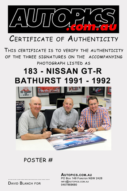 Signed Poster,  Nissan GT-R Bathurst 1000 Winner 1991 & 1992 - Signed By Mark Skaife, Jim Richards & Fred Gibson