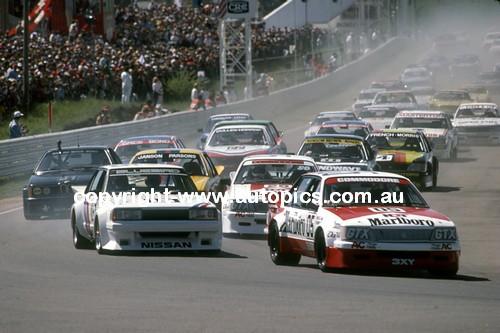 83700 - Peter Brock, Commodore & George Fury, Nissan Bluebird - Bathurst Start 1983