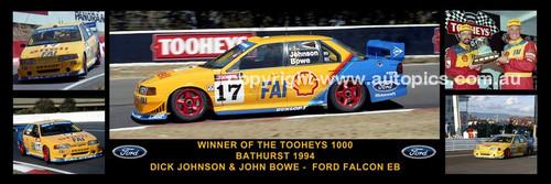 178 - Dick Johnson & John Bowe, Falcon EB - Bathurst Winner 1994 -  A Panoramic Photo 30x10 inches.