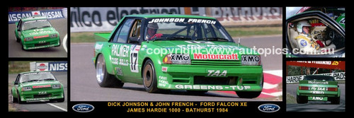 176 - Dick Johnson & John French, Greens Tuf Falcon XE - Bathurst 1984 -  A Panoramic Photo 30x10 inches.