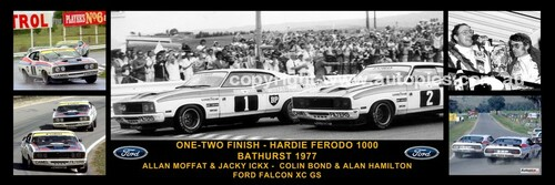 172 - A. Moffat / J. Ickx & C. Bond / A. Hamilton - Bathurst Winner 1977 -  A Panoramic Photo 30x10 inches.