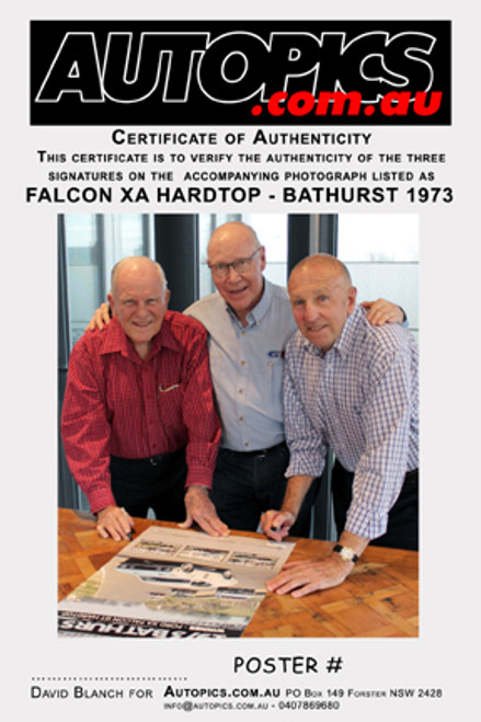 182 - Falcon XA GT Hardtop Poster - Personally Signed By Allan Moffat, John French & Fred Gibson