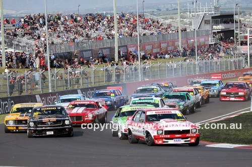 16758 - John Bowe, Torana SLR 5000, leads into the first Caroner of the Touring Car Masters - Bathurst 2016