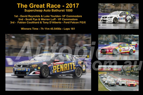 648 - The Graet Race 2017 - A collage of 4 photos showing the first three place getters from  Bathurst 2017 with winners time and laps completed.