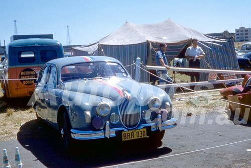 "58121 - David McKay, Jaguar Mk 1, 3.4 litre ""Grey Pussy""  - Fishermans Bend 1958 - Photographer Barry Kirkpatrick"