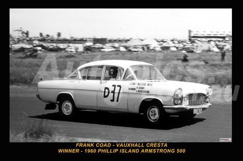 60701-1 - Frank Coad / John Roxburgh Vauxhall Cresta - Winner of the First Armstrong 500 Phillip Island 1960 - Printed with a black border and a caption discribing the photo.