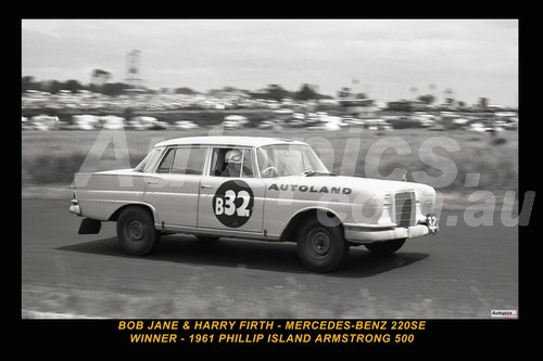 61729 -1 - BobJane & Harry Firth - Mercedes Benz 220SE - Winner of the Armstrong 500 Phillip Island 1961 - Photographer Peter D'Abbs - Printed with a black border and a caption discribing the photo.