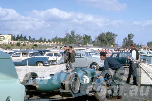 63061 - Jack Brabham's Brabham BT7A on the transporter. - Sandown 1963 - Barry Kirkpatrick Collection