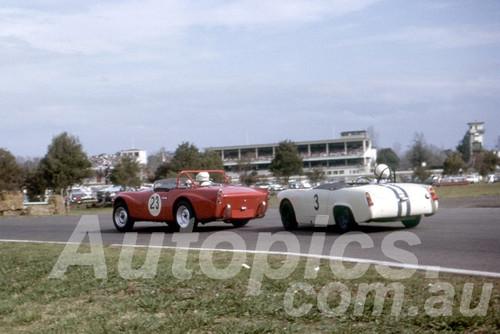64210 - Max Brunninghausen , Daimler SP 250 & Doug Macarthur, Austin Healey Sprite - Warwick Farm 1964 - Photographer Peter Wilson